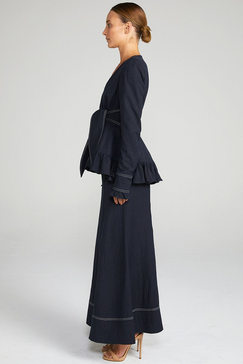 Delon Frill Jacket - Navy