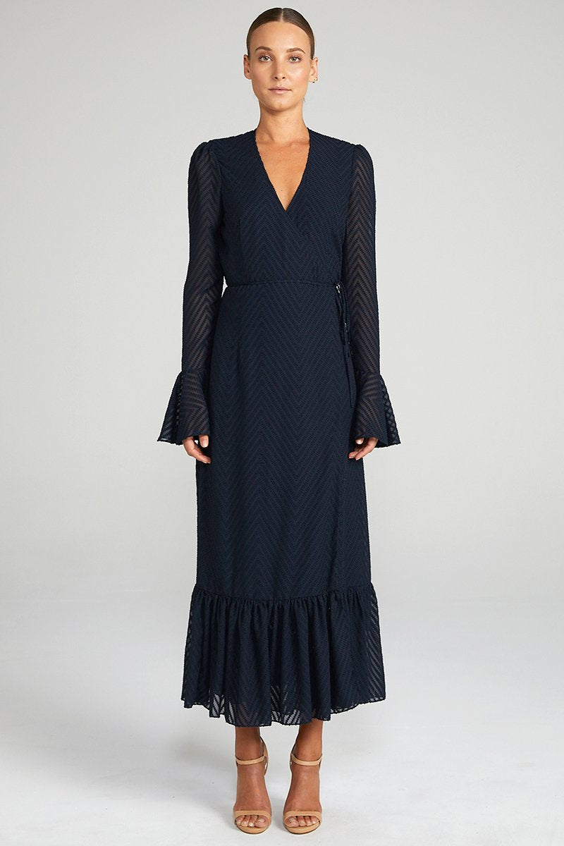 Jean Frill Cuff Wrap Midi Dress - Navy