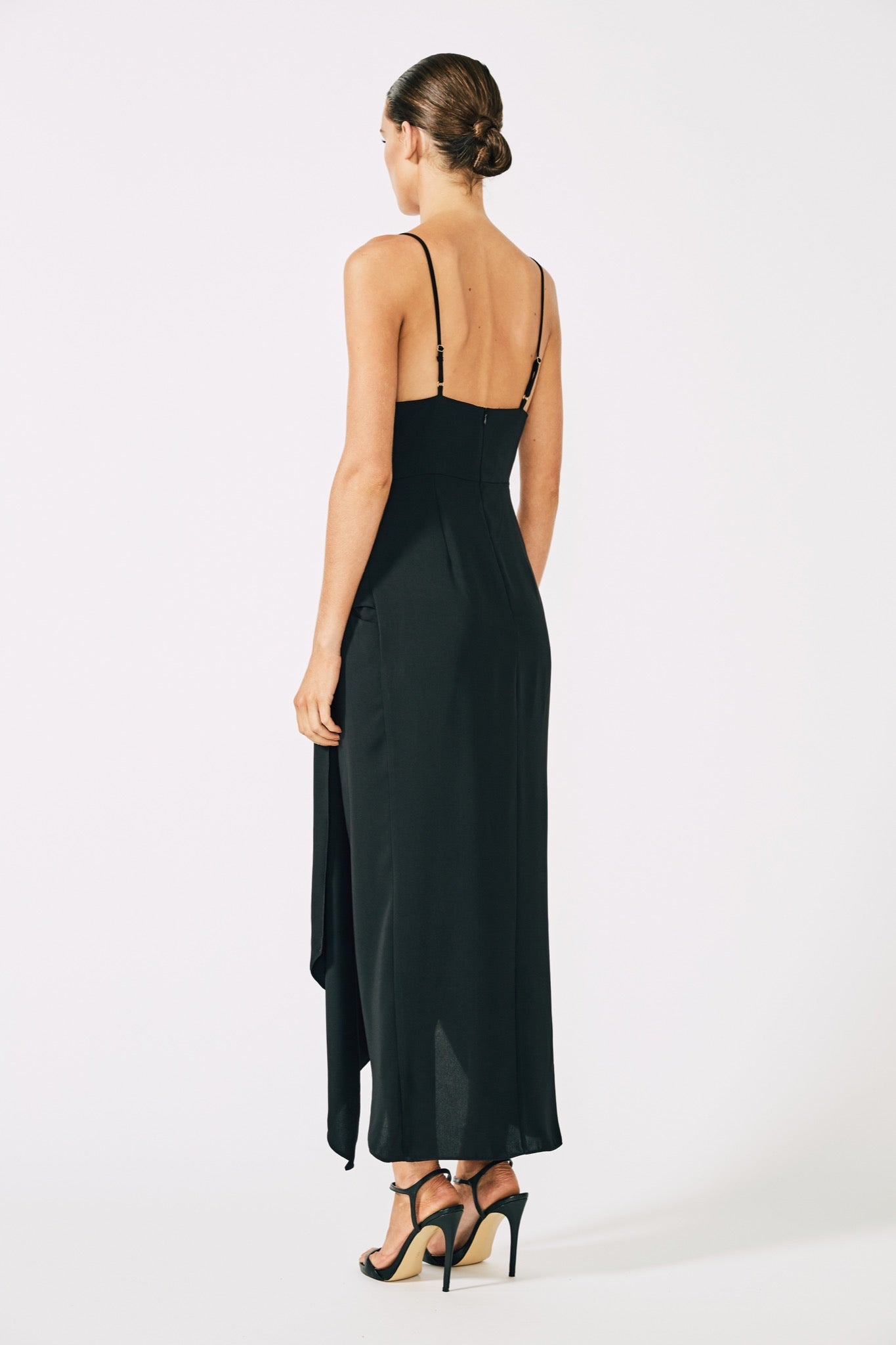 Voltaire Cocktail Draped Midi Dress