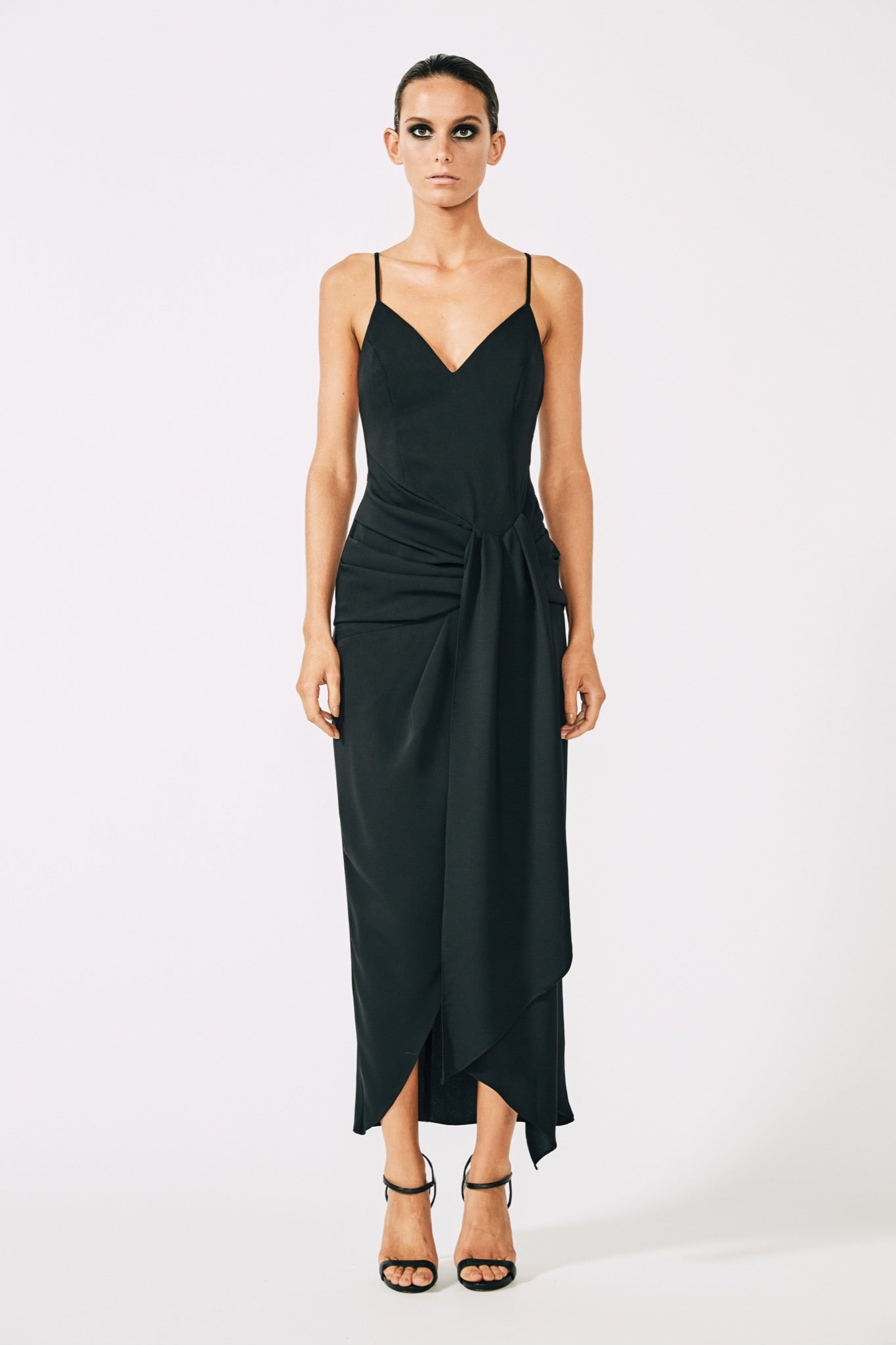 midi drapes slinky dresses and textured boohoo dress pin draped sasha