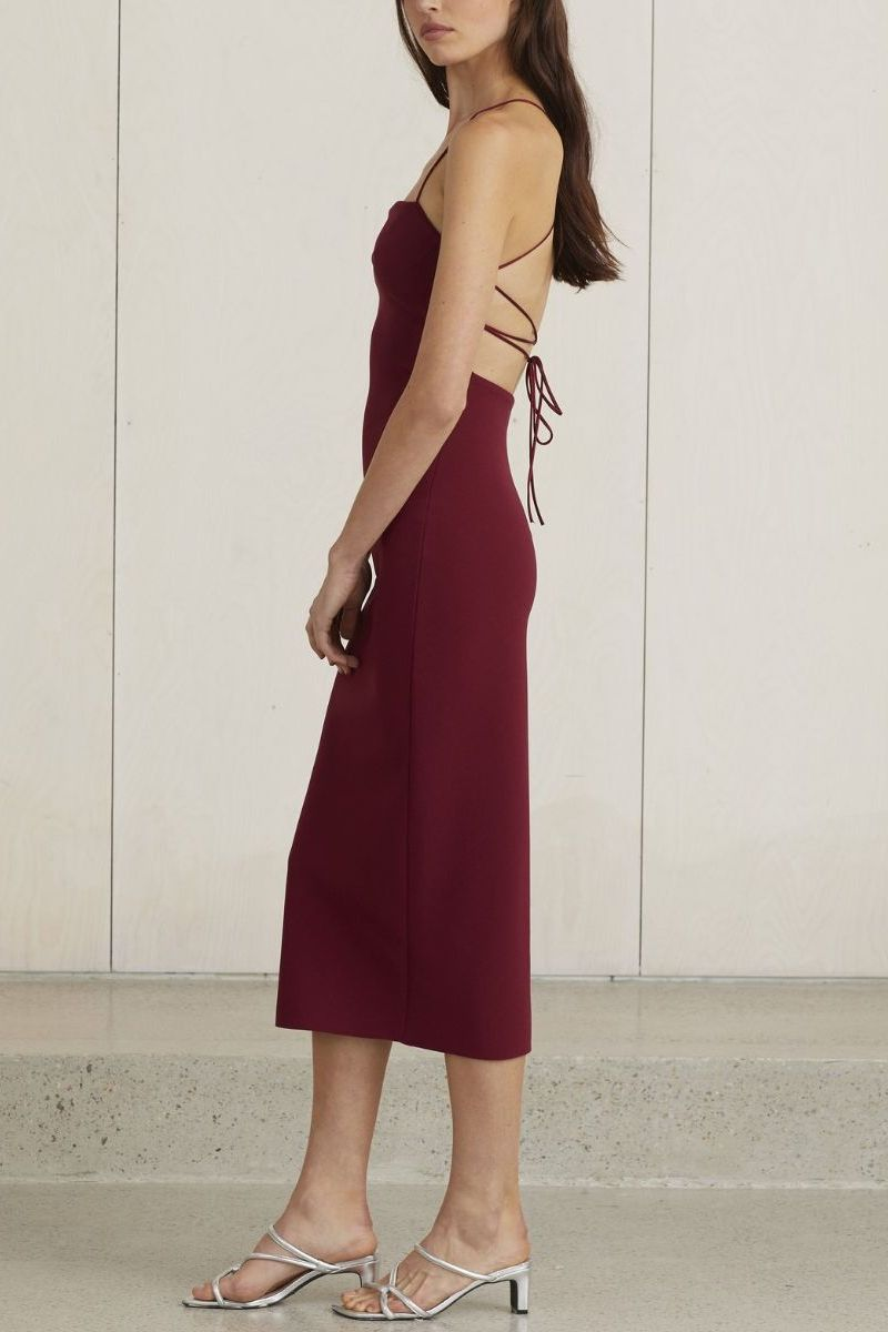 Lea Lace Up Midi Dress