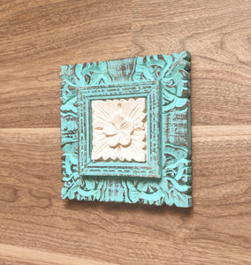 Wall Art Beautiful Sandstone Flower In A Wooden Floral Frame