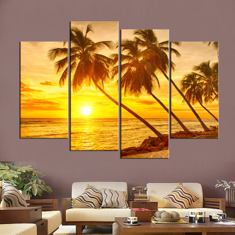 Sunset Seaview With Coconut Trees Wall Art Canvas – KY Wall Arts