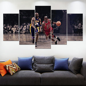 The Two Legends In Basketball Wall Art Canvas