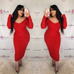 """Santa Baby"" Ribbed Midi Dress"