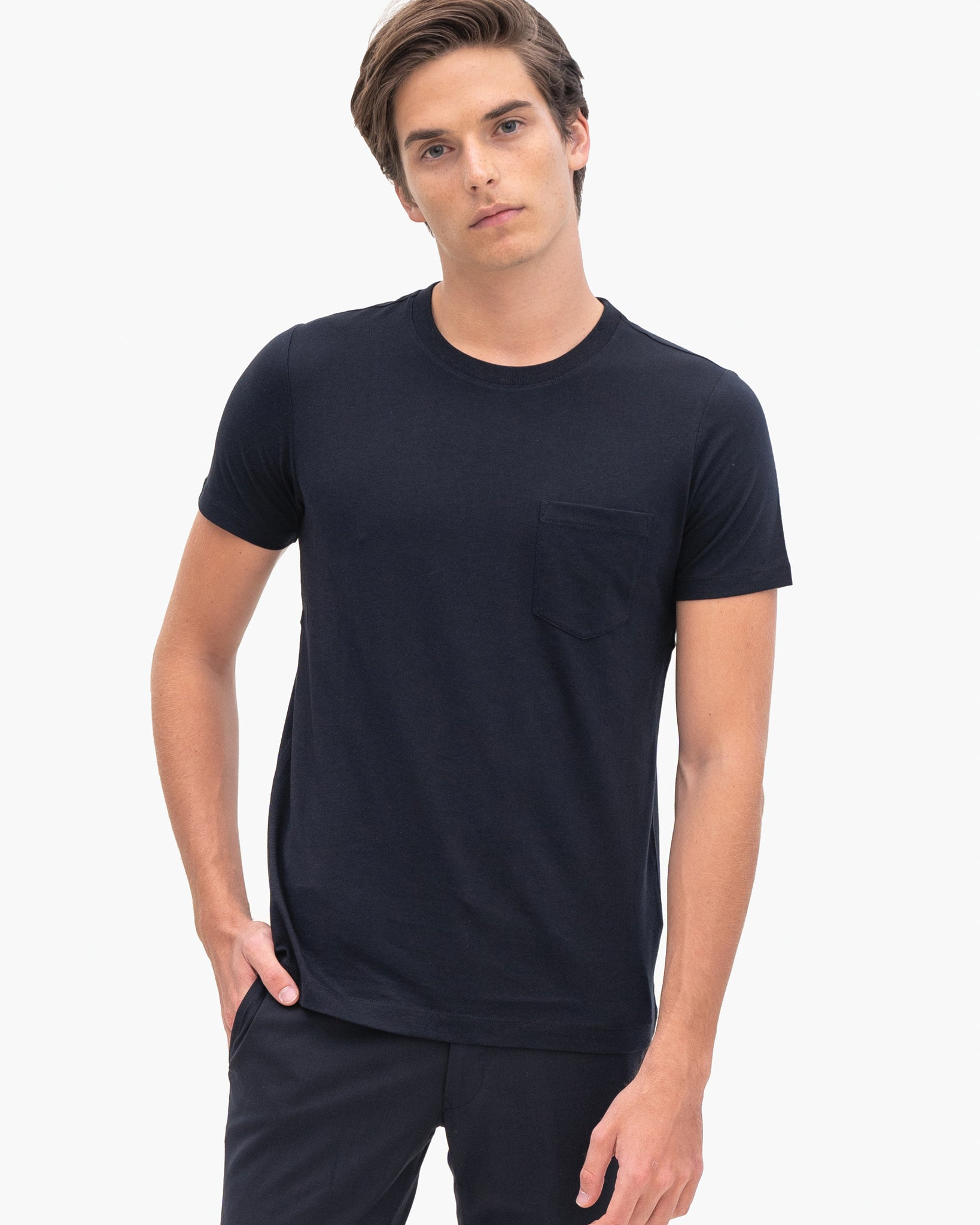 Men Organic Cotton Crew Neck with Pocket Black Featured