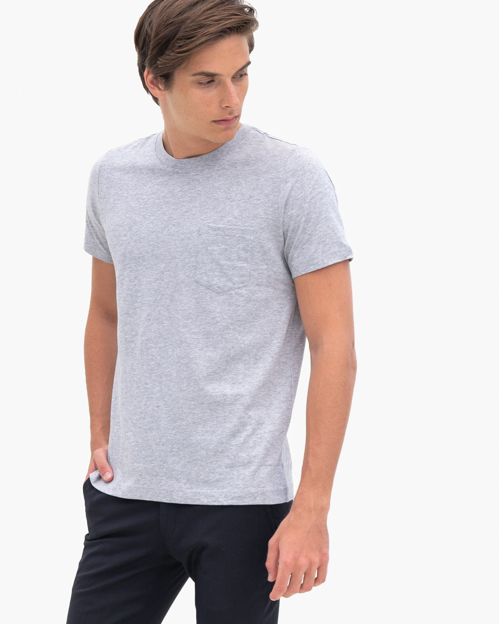 Men Organic Cotton Crew Neck with Pocket Grey Featured