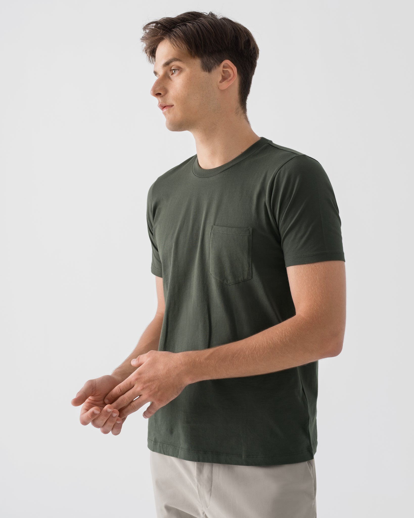 Men Organic Cotton Crew Neck with Pocket Thyme Green