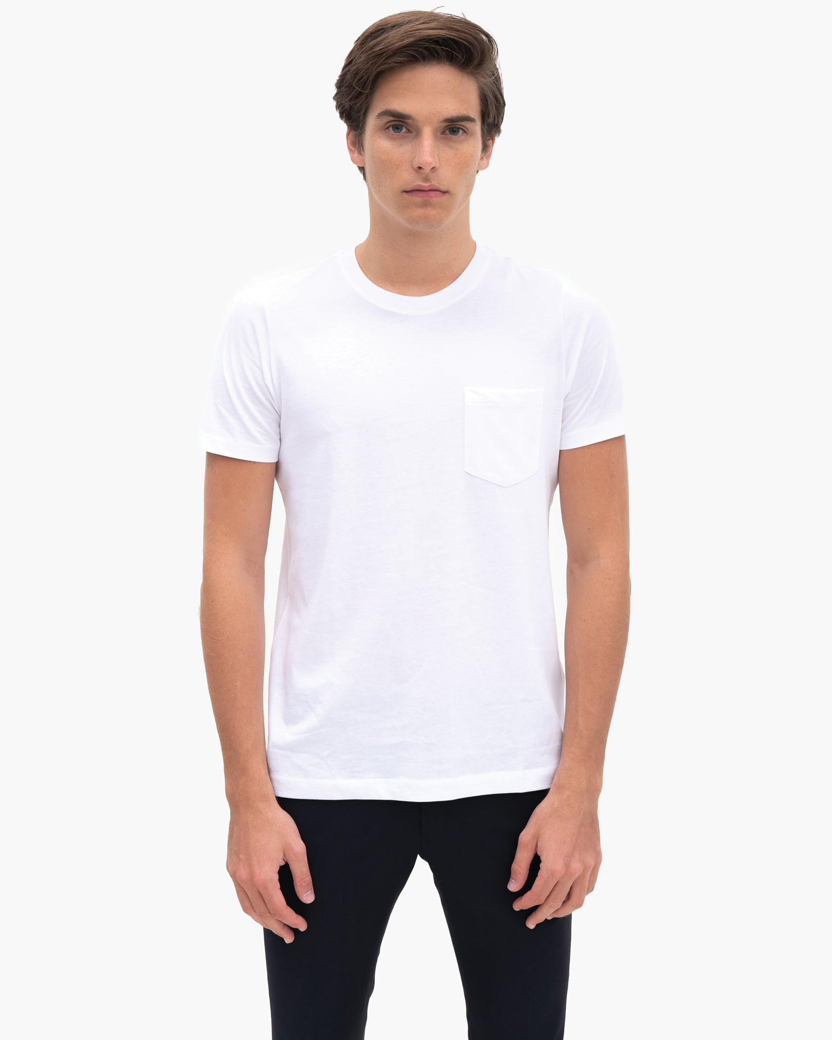 Men Organic Cotton Crew Neck with Pocket White Featured