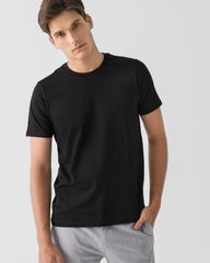 Men Organic Cotton Crew Neck T-shirt Black Featured