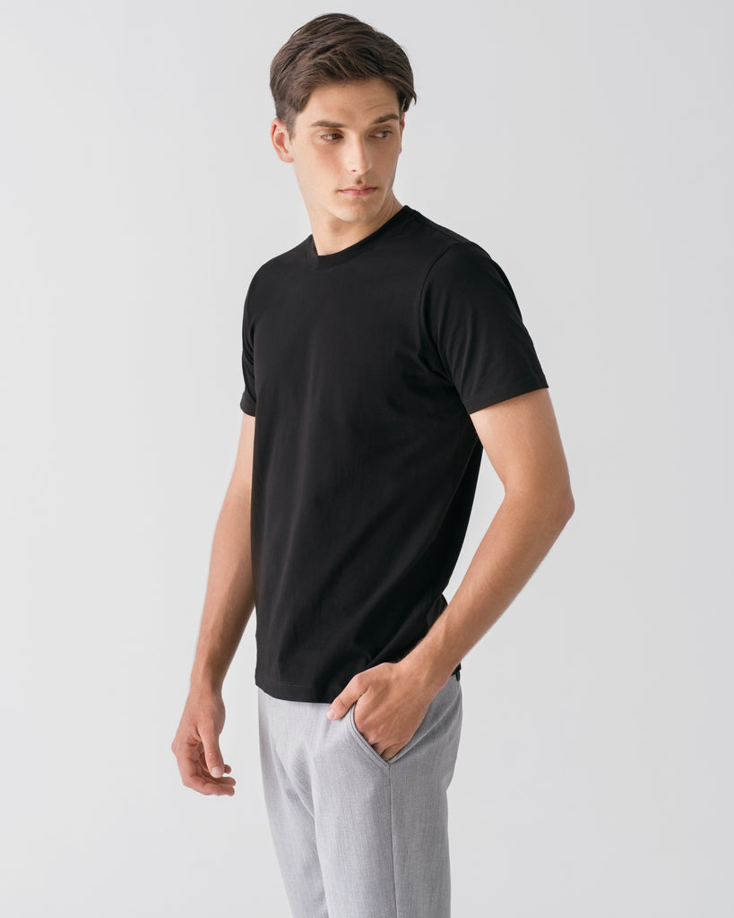 Men Organic Cotton Crew Neck Black