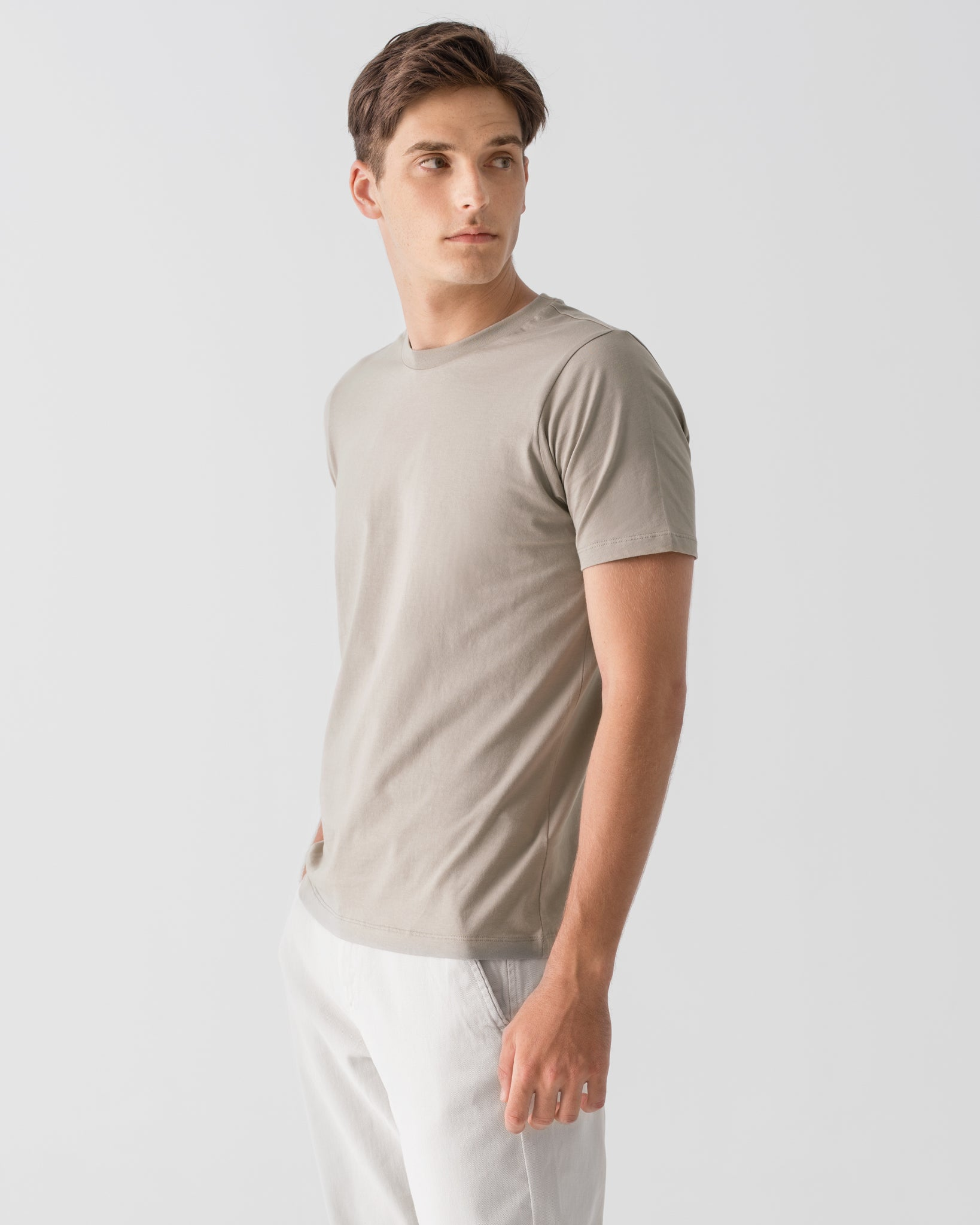Men Organic Cotton Crew Neck Taupe Featured