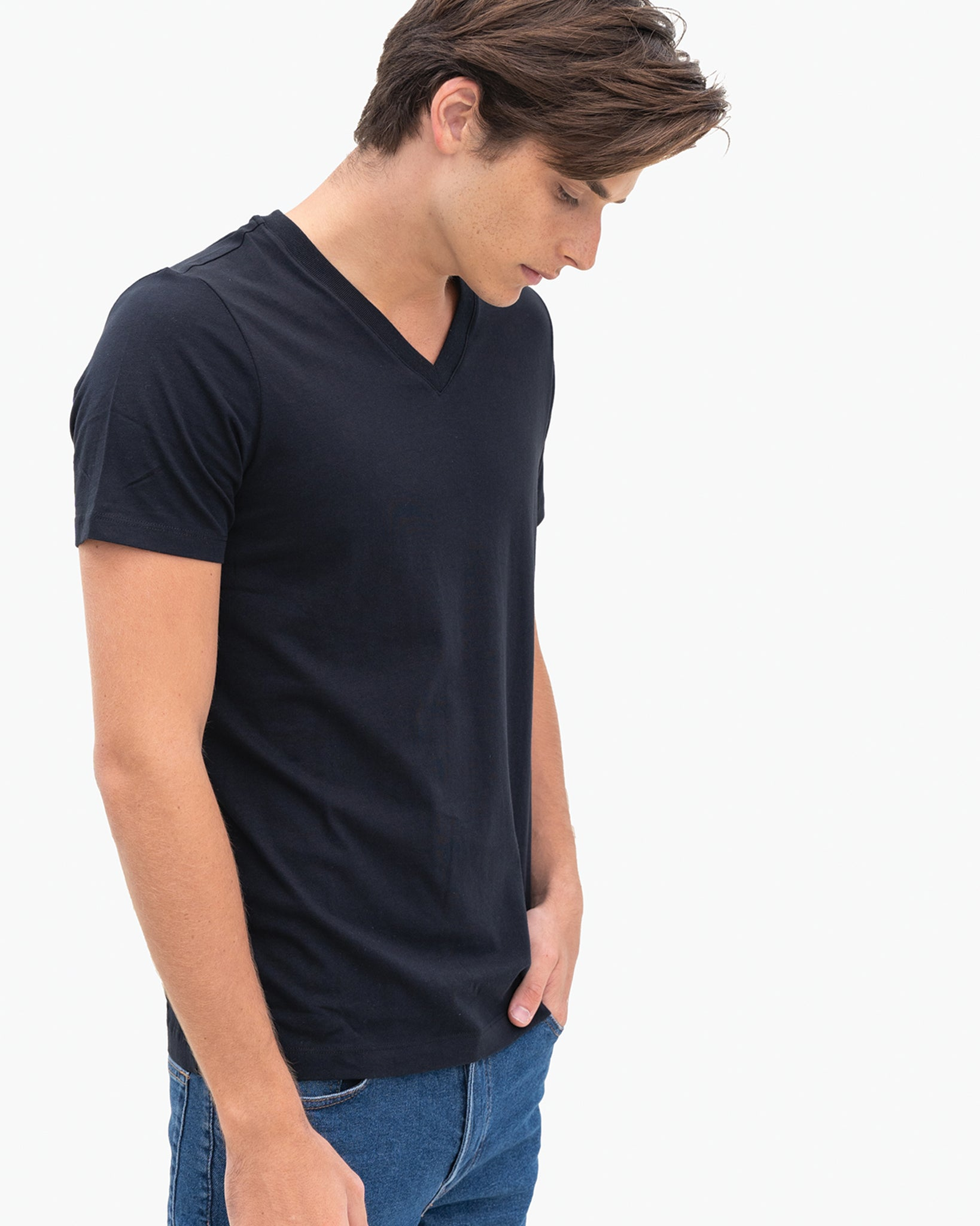 Men Organic Cotton V Neck T-shirt Black Featured