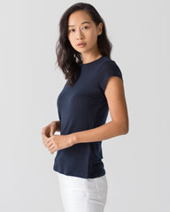 Women Tencel Lyocell Cap Sleeve T-Shirt Navy Blue