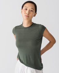 Women Tencel Lyocell Crew Neck T-Shirt Thyme Green Featured