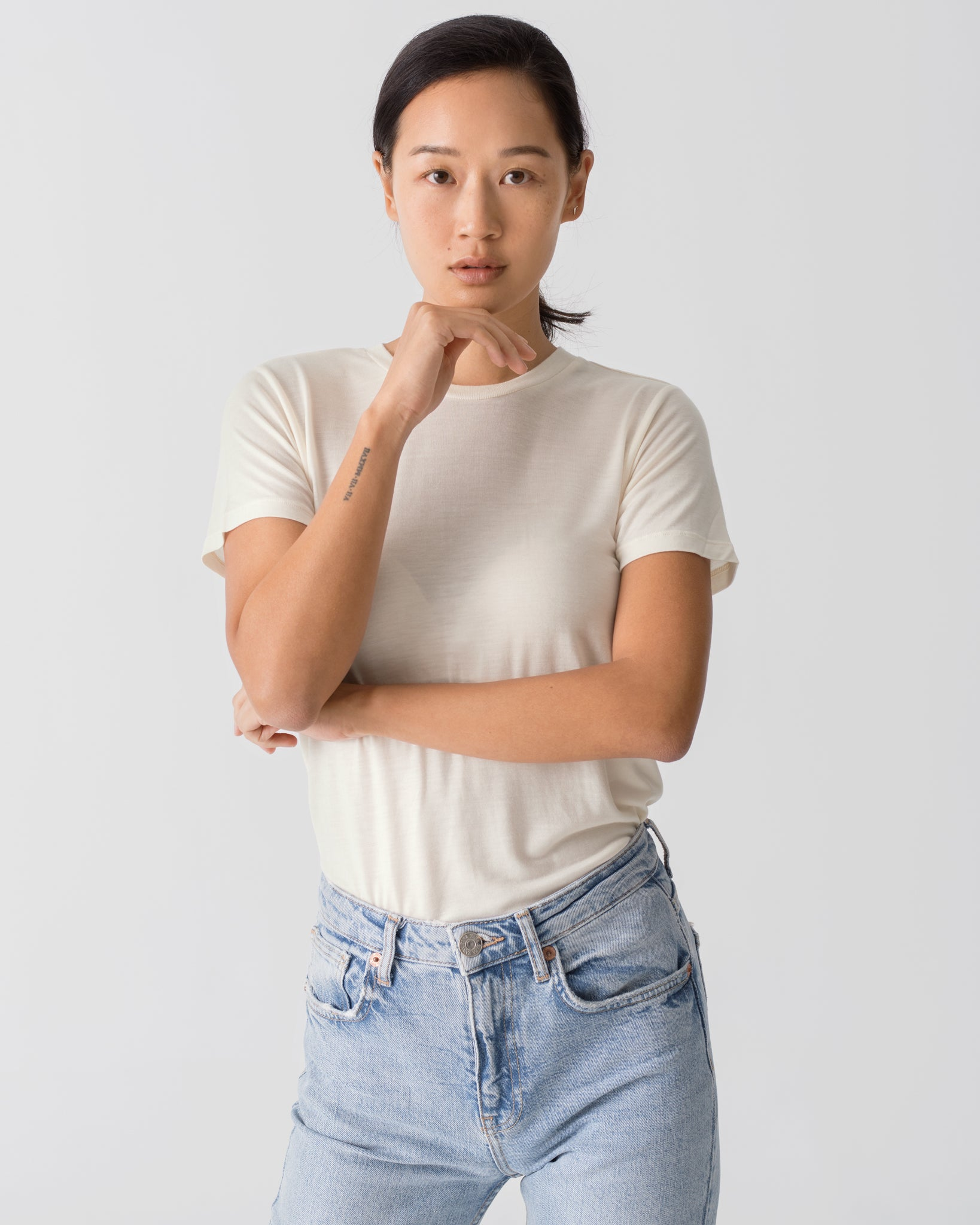 Women Tencel Lyocell Crew Neck T-Shirt Off-White Featured
