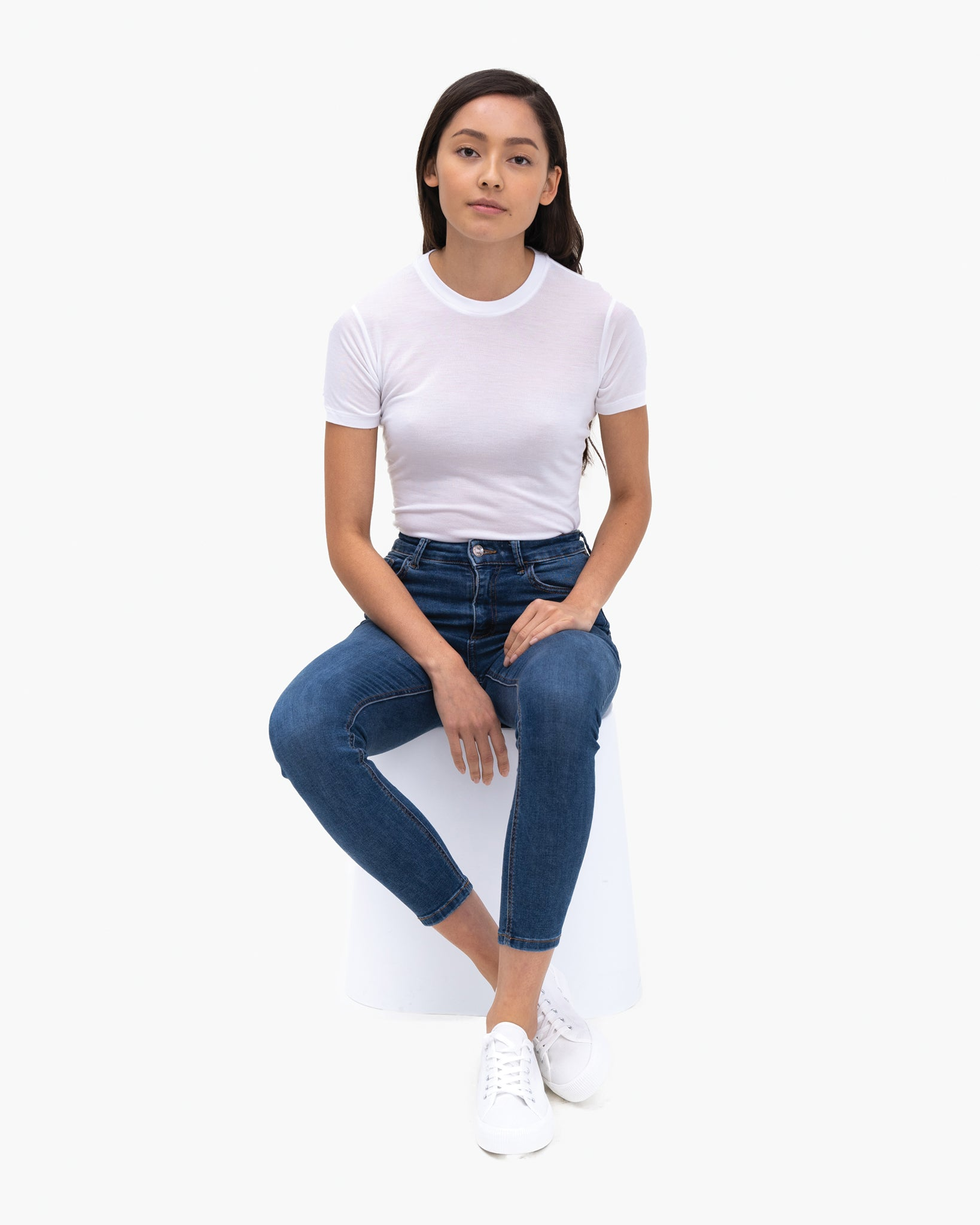Women Tencel Lyocell Crew Neck T-Shirt White Featured
