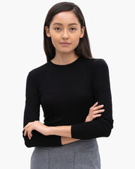 Women Tencel Lyocell Long Sleeve Crew Black Featured