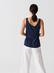 Women Tencel Lyocell Relaxed Tank Navy Blue