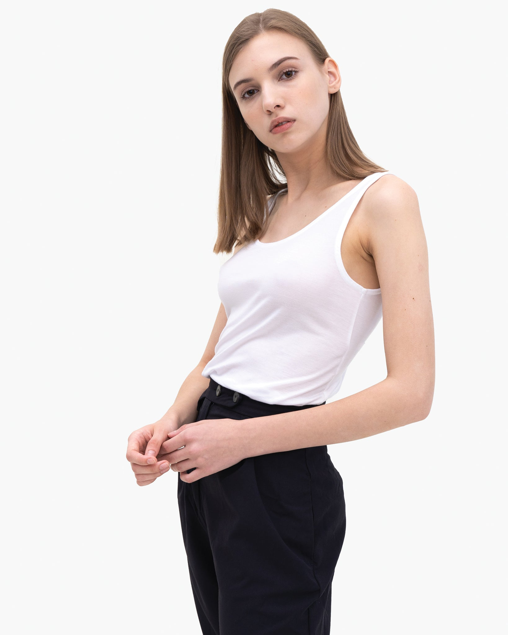 Women Tencel Lyocell Relaxed Tank White Featured