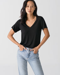 Women Tencel Lyocell V-Neck T-shirt Black Featured