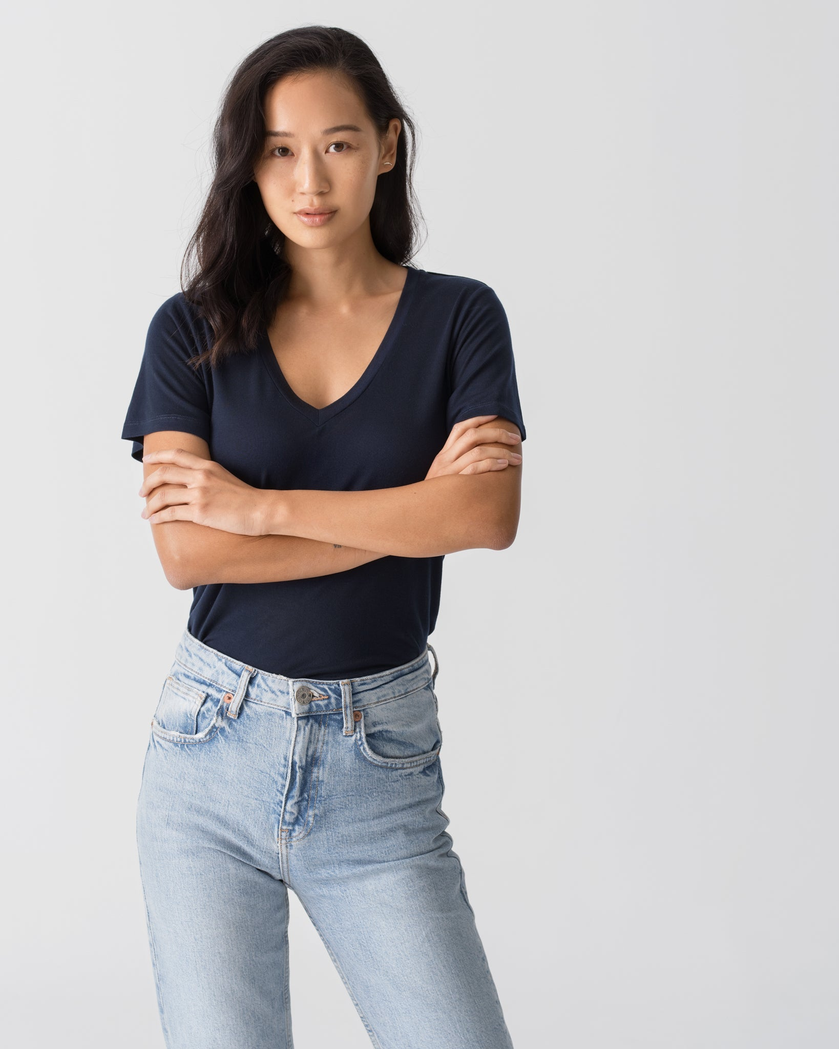 Women Tencel Lyocell V-Neck T-shirt Navy Blue Featured