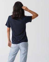 Women Tencel Lyocell V-Neck T-shirt Navy Blue