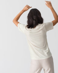 Women Tencel Lyocell V-Neck T-shirt Off-White