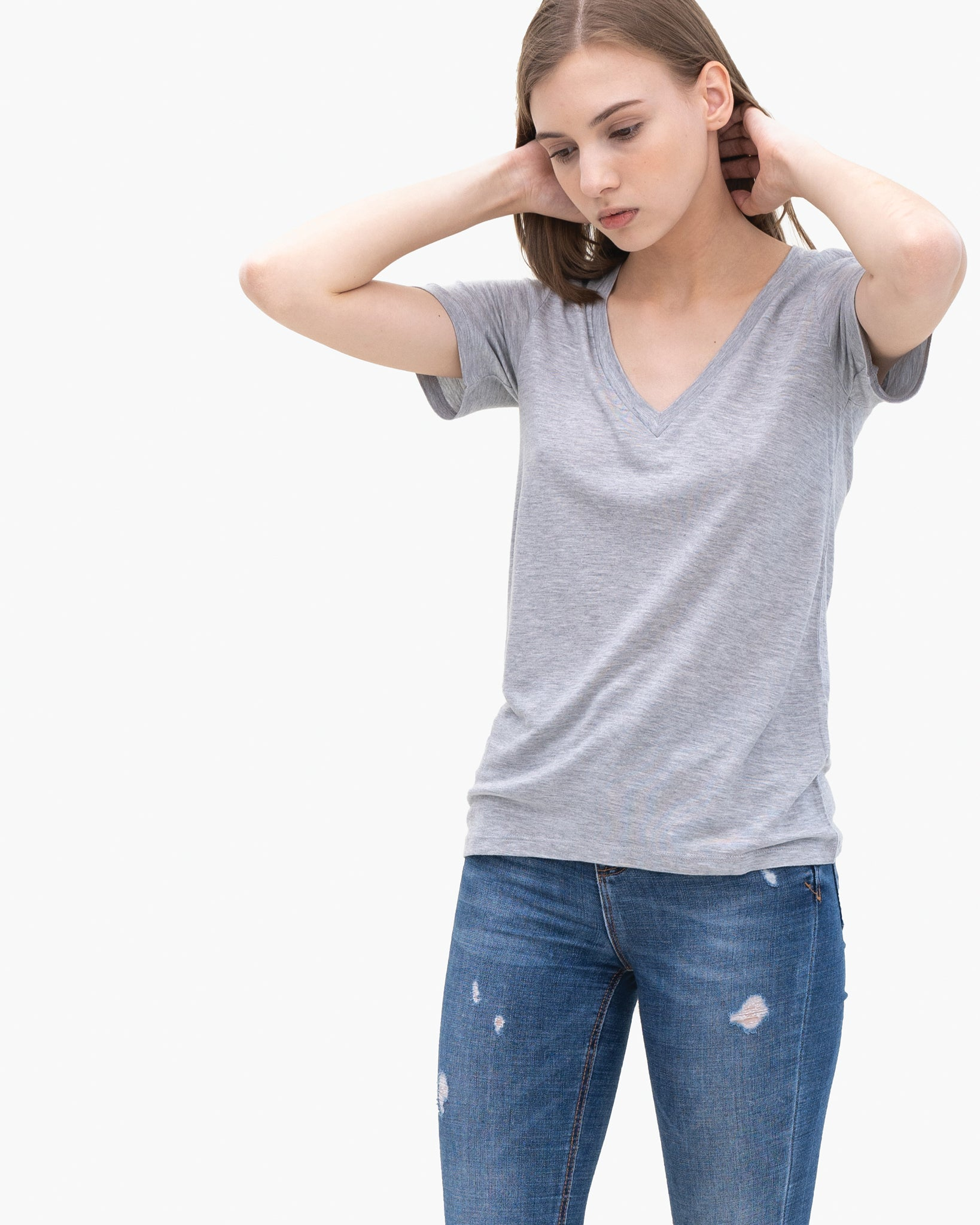 Women Tencel Lyocell V-Neck T-shirt Grey Featured