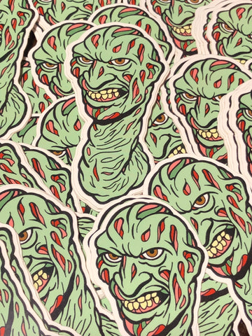 """Freddy Worm"" die cut sticker"