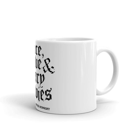 """Peace, Love & Scary Movies"" Mug"