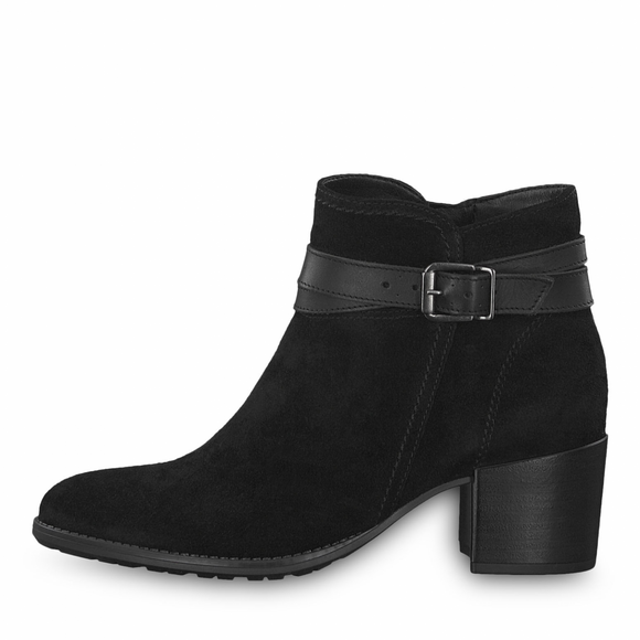 'NORMA' Black Suede Ankle Boot by Tamaris