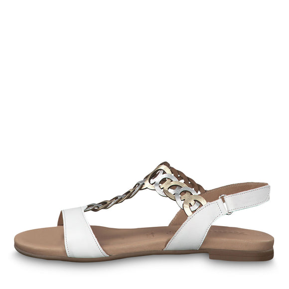 Carla Flat Sandal in White/gold by Tamaris