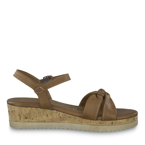 Carly Tan Leather Sandal by Tamaris