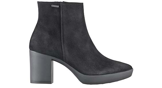 FIFI Goretex Black Suede Ankle Boot with block heel