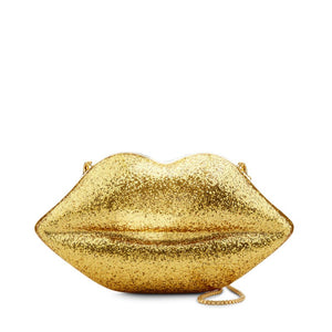 Gold Glitter Perspex Lips Clutch By Lulu Guinness