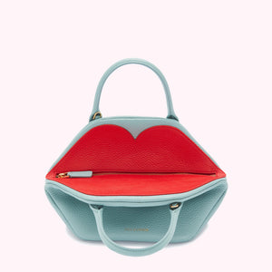 Small Peekaboo Lip Valentina in Aqua/Scarlet by Lulu Guinness