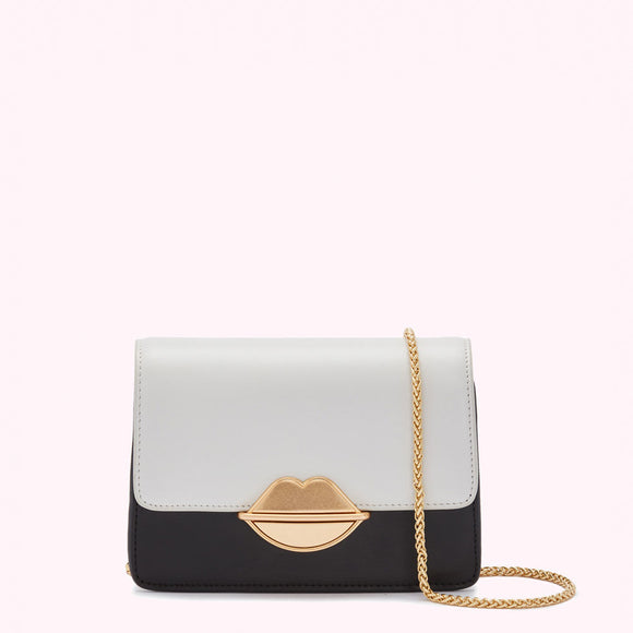 Black/Oyster Lip Push Lock Small Patty by Lulu Guinness