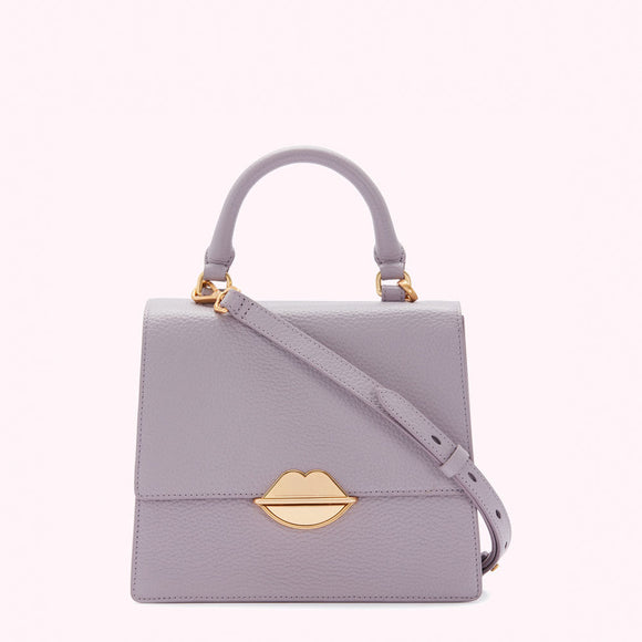 Lavender Grey Lip Push Lock Medium Patty by Lulu Guinness