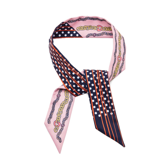 Chain Hearts Skinny Scarf by Lulu Guinness
