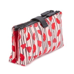 Lips & Heart Stripe Double Make-up Bag by Lulu Guinness