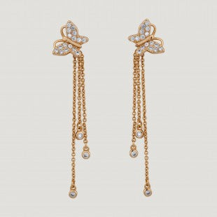 Rose Gold Crystal Butterfly 3 Drop Chains Earrings by Butler & Wilson