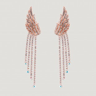 Rose Gold Crystal Wing Drop Crystals Earrings by Butler & Wilson