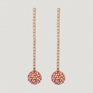 Pink Crystal Ball Long Drop Earrings by Butler & Wilson