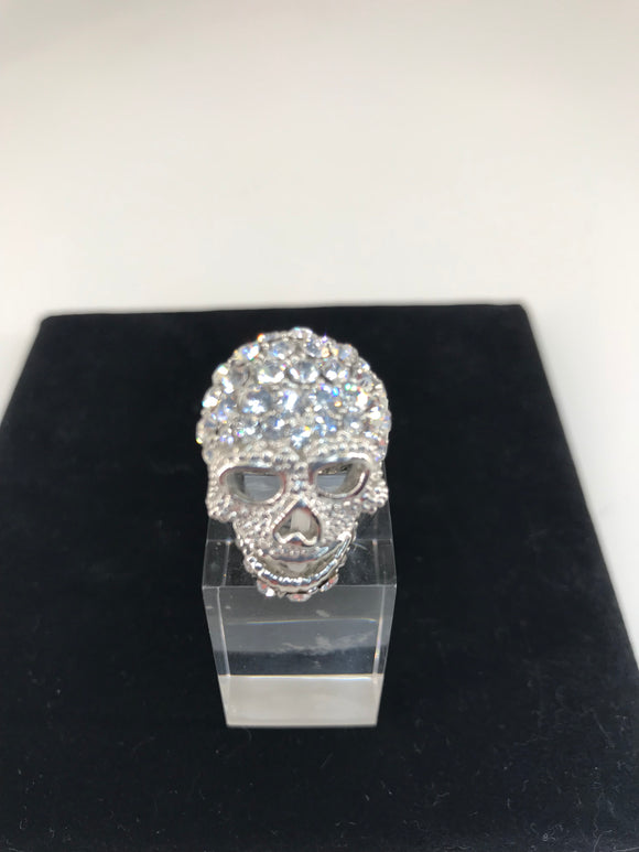 Small Crystal Skull Ring in Silver by Butler & Wilson
