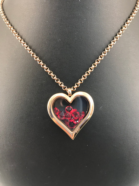 Birth Stone Locket Heart Rose Gold