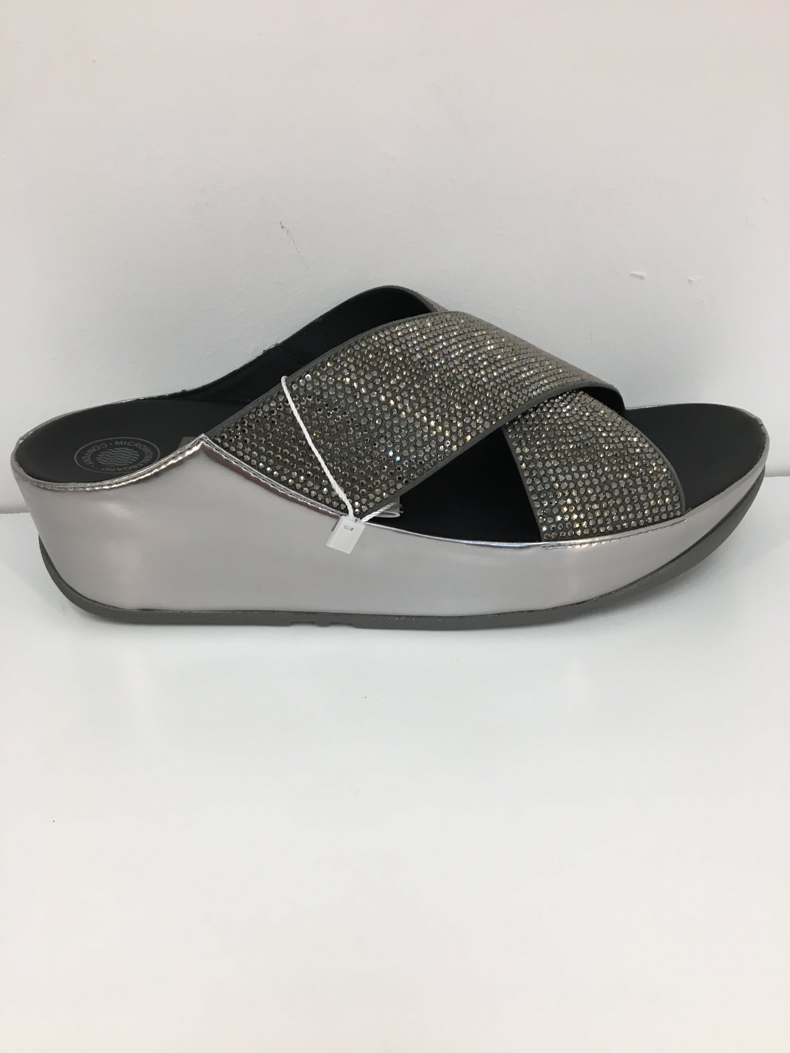 aa7eb415243cf1 Crystall Slide in Metallic Pewter by Fit Flop – Ruby Tuesday Shoes