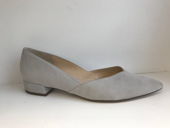 SUSAN Light Grey Suede Flat Pump (pointed toe)
