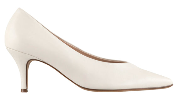 ARLO Ivory Leather Pump with mid heel by Hogl