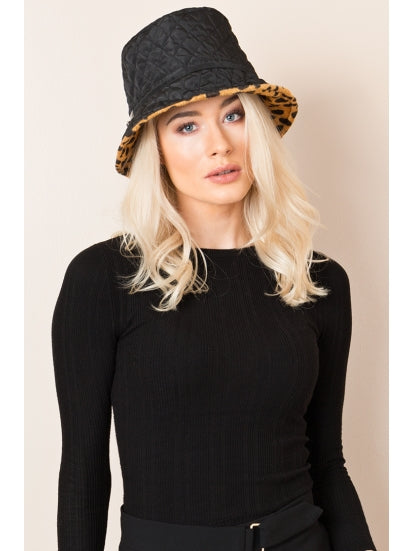 Tyra Rain Hat in Black/Leopard by Pia Rossini